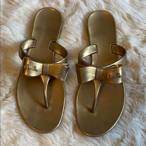 Coach Flip flops with Bow in Gold